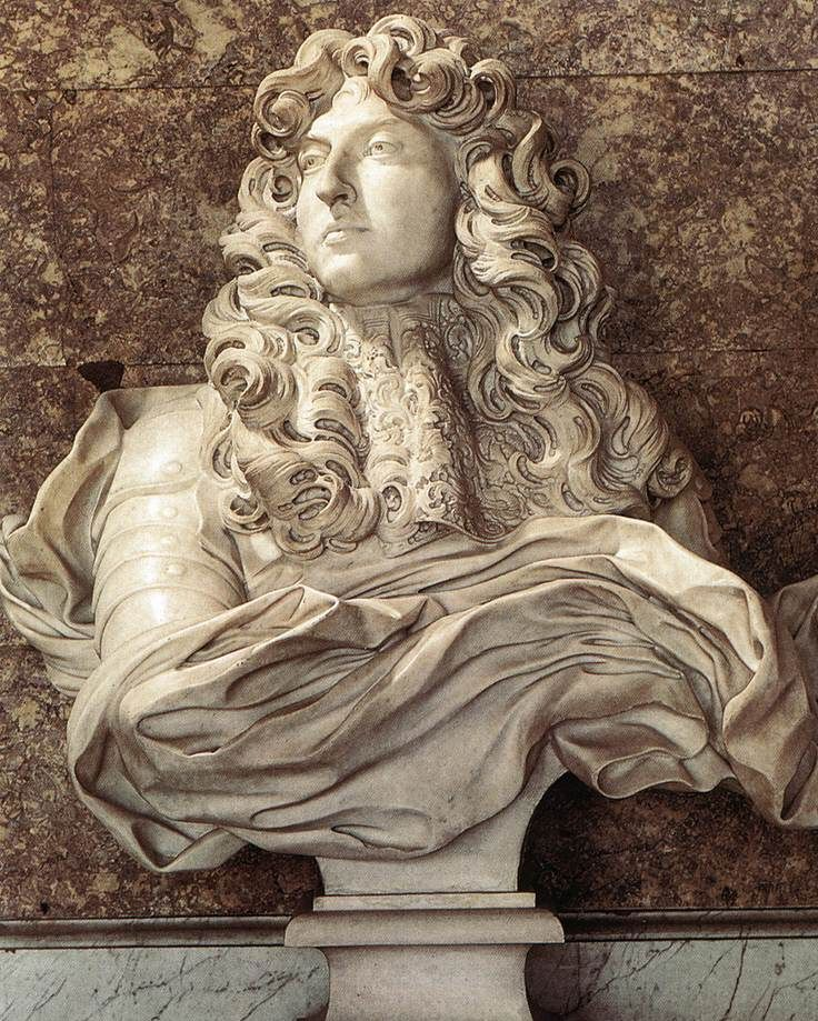 Gian Lorenzo Bernini, Louis XIV, 1665  Marble (Chateau de Versailles). In April 1665 Gian Lorenzo Bernini (1598-1680) succumbed to the ongoing entreaties of Louis XIV and went to Paris to work on designs for the east facade of the Louvre, then the royal residence. Everywhere along his route people lined the streets to get a glimpse of the famous artist, then in his 67th year.