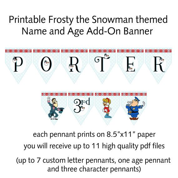 Printable Frosty The Snowman Inspired Add On By