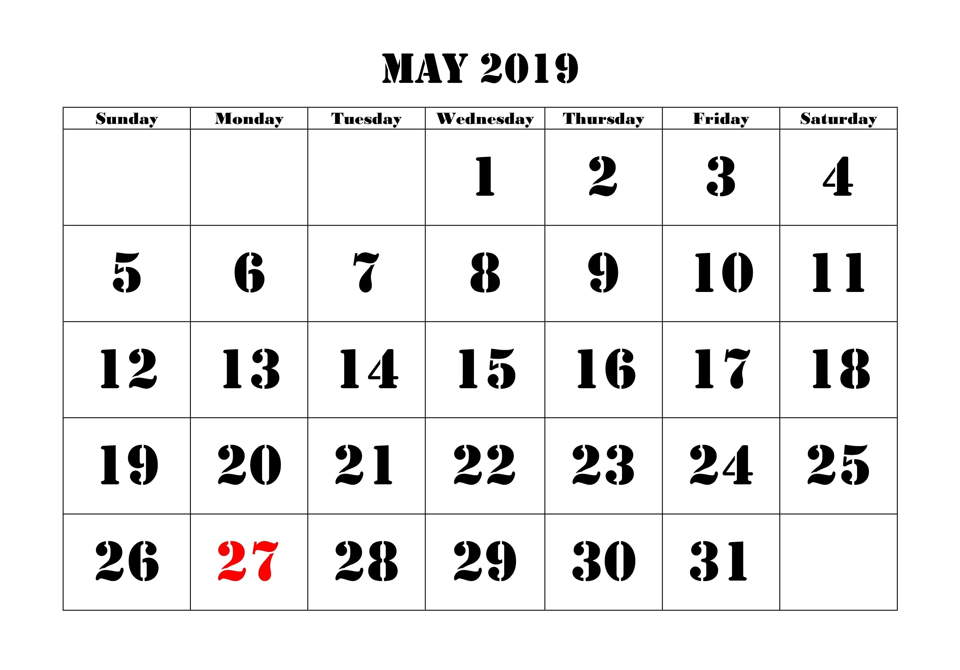 May 2019 Printable Calendar For Landscape and Vertical | May