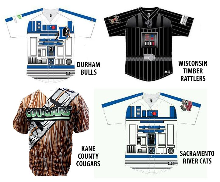 ee1698093 Star Wars theme jerseys that will be worn by Minor League Baseball teams in  2014. Somewhere, C3P0 is pissssssssed off