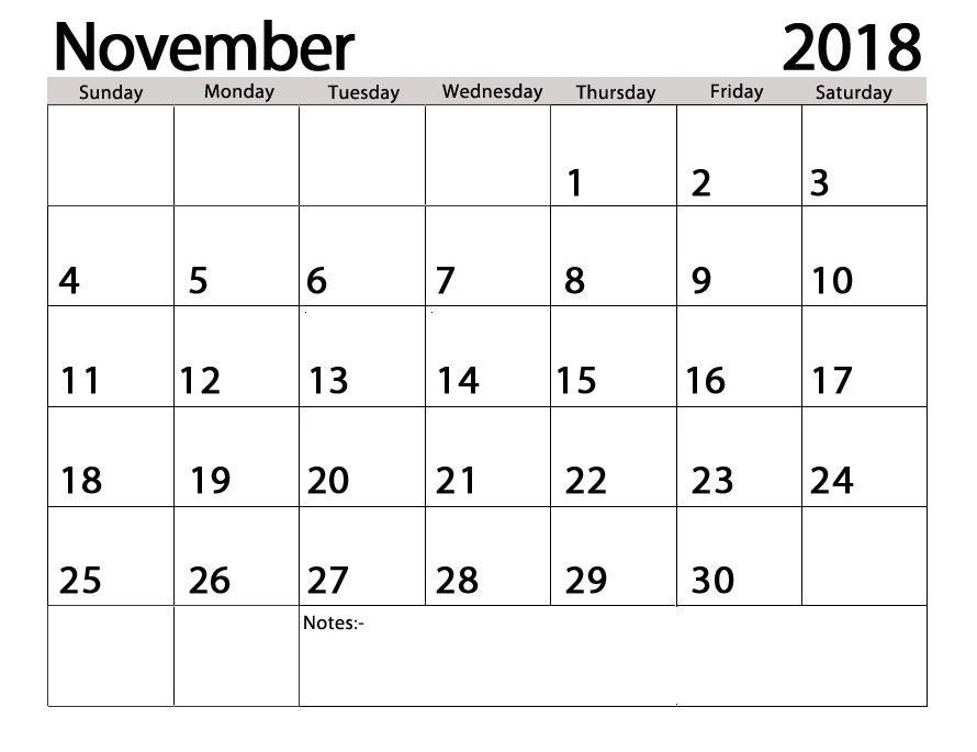 printable november 2018 google sheet calendar 2018 Calendars