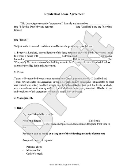 Printable Sample Simple Room Rental Agreement Form Real Estate - blank lease agreement example