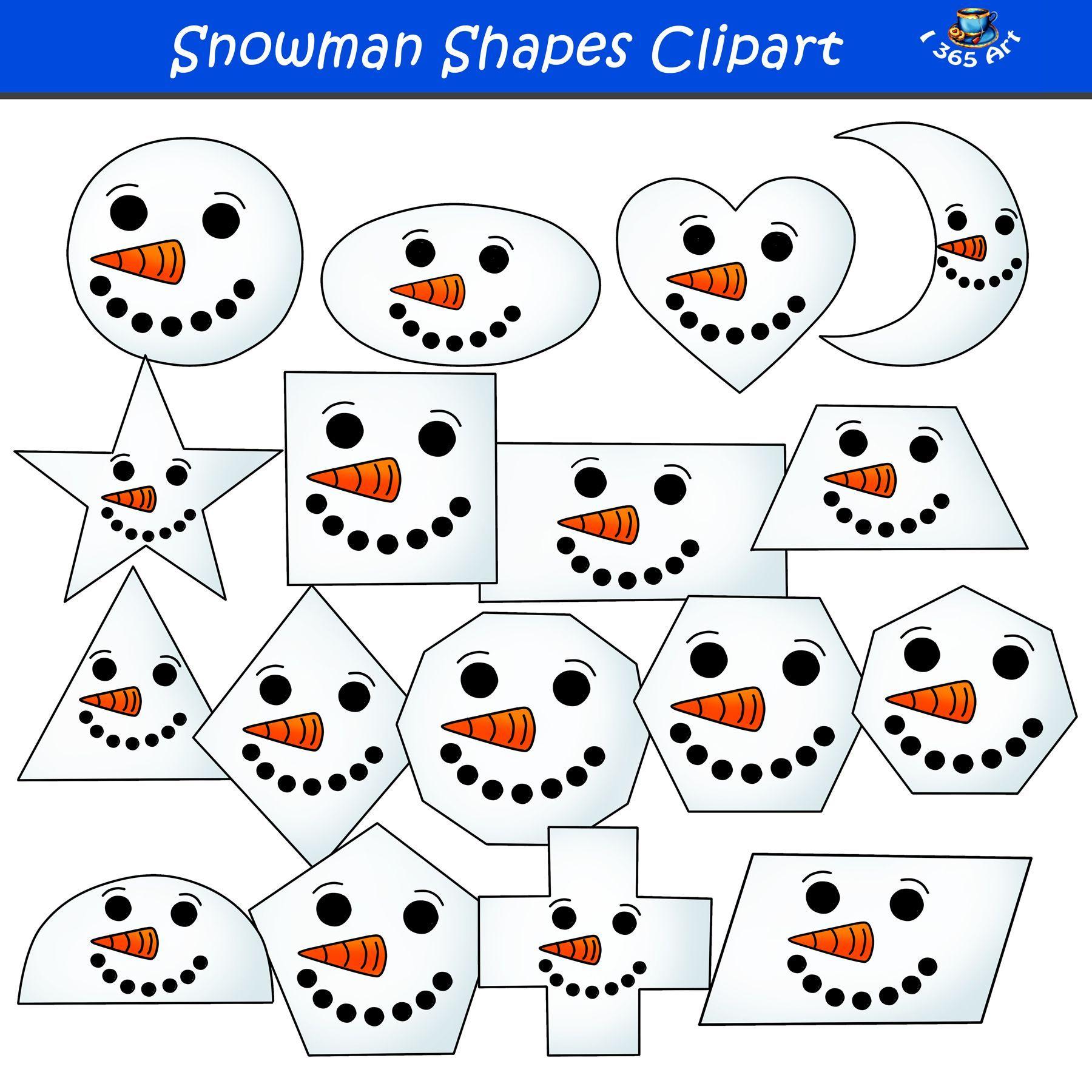 2d Snowman Shapes Clipart Set
