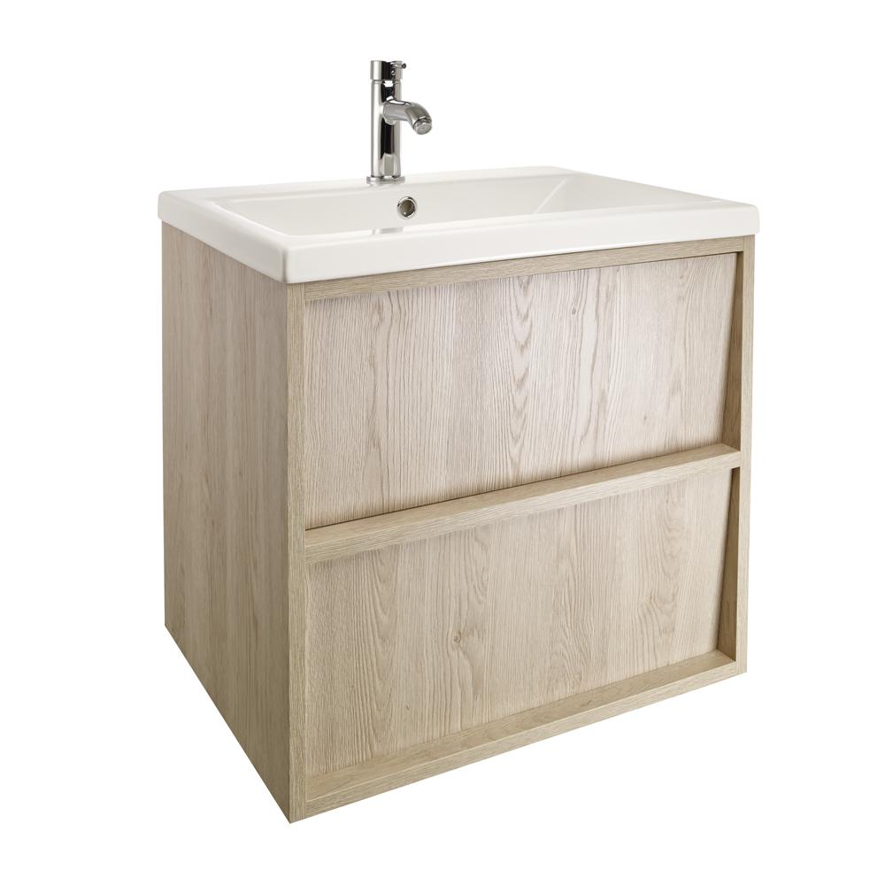 Slant 800 wall hung unit & worktop - oak | bathstore | Bathroom ...