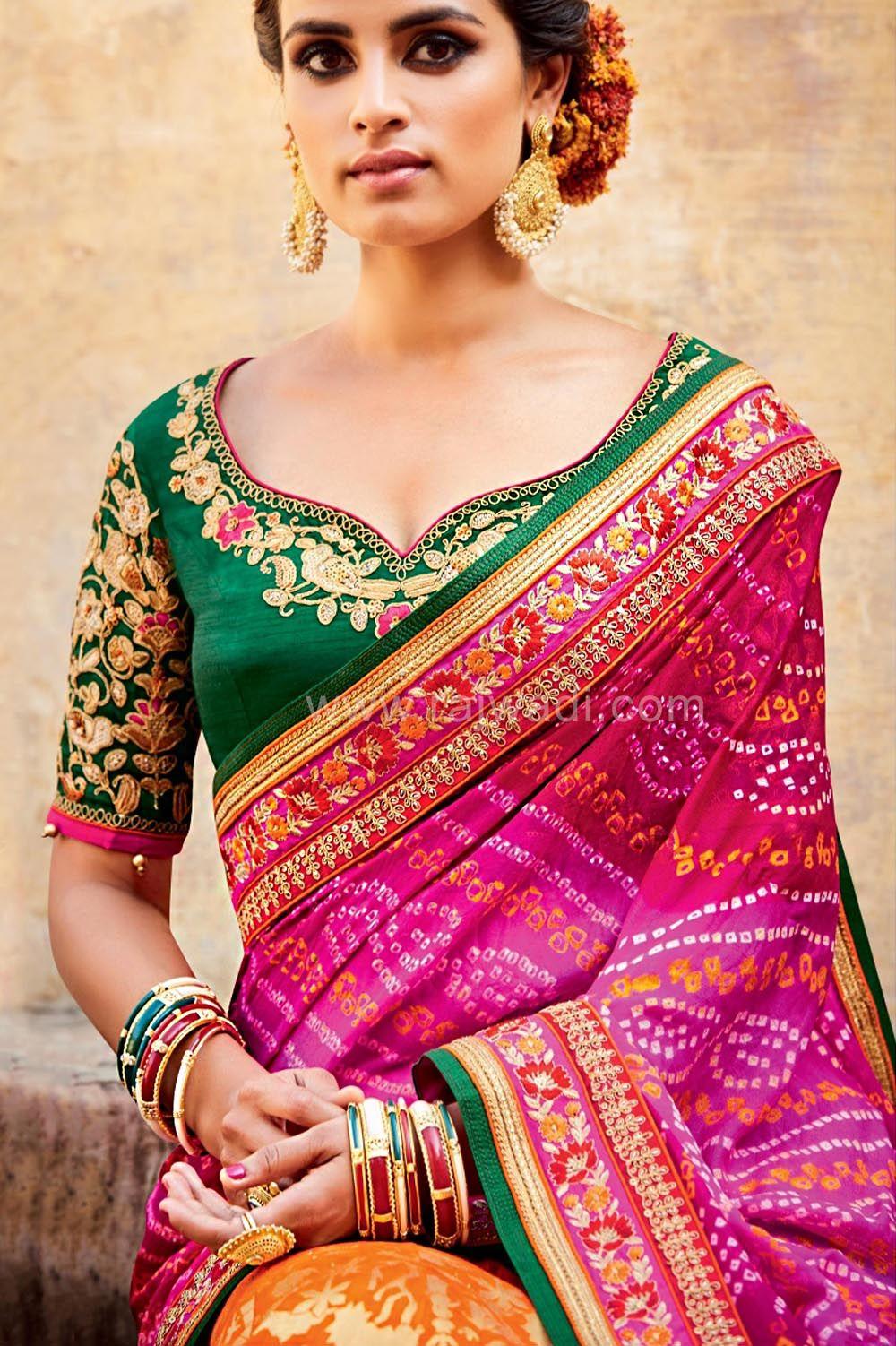 86c759d065777b Wedding Bridal Lehenga Choli with Bandhani Dupatta   Blouse designs ...