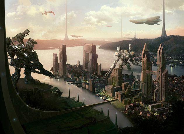 Futuristic City Scifi City Illustration Futuristic City Armored Core