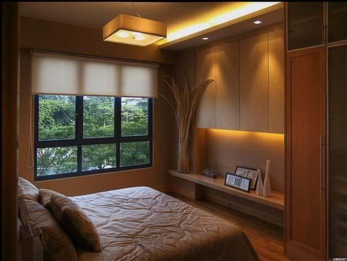 How to make a small room look bigger  small room decoration ideas    Possibly  add a shelf at table height level   two large cabinets on top  with space in. modern small bedroom designs with lighting   Home Decor