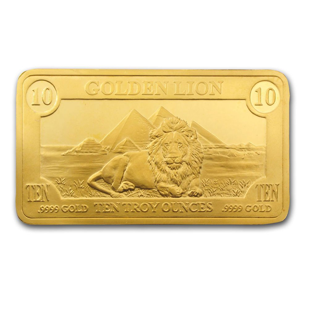 10 Oz Gold Bar Golden Lion Mint Sku 66474 Gold Bar Gold Bars For Sale Golden Lions