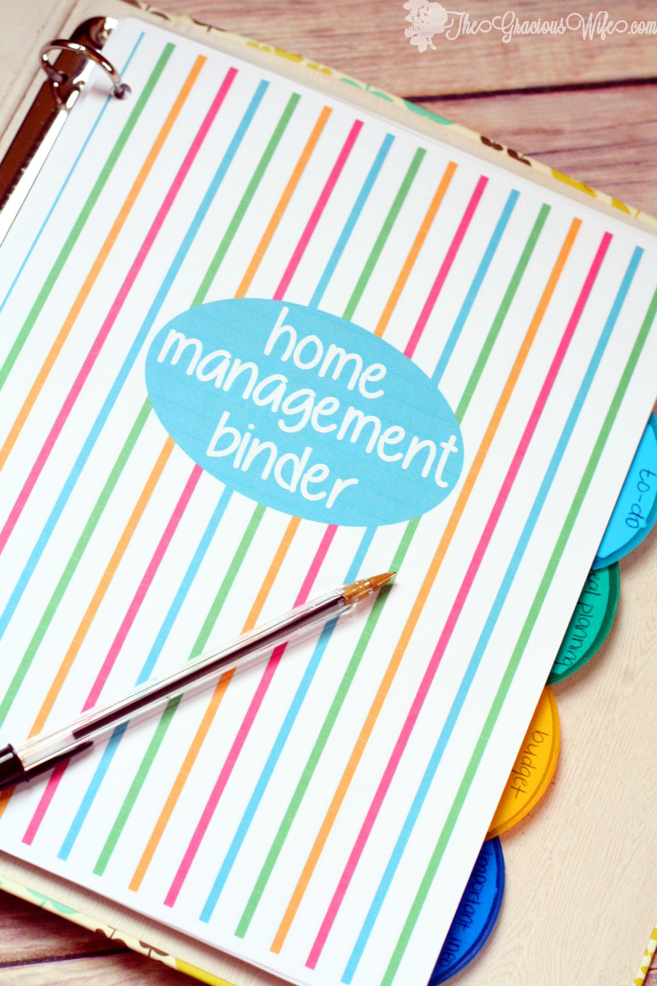 Home Management Binder – FREE Printables   organize it   Pinterest ...