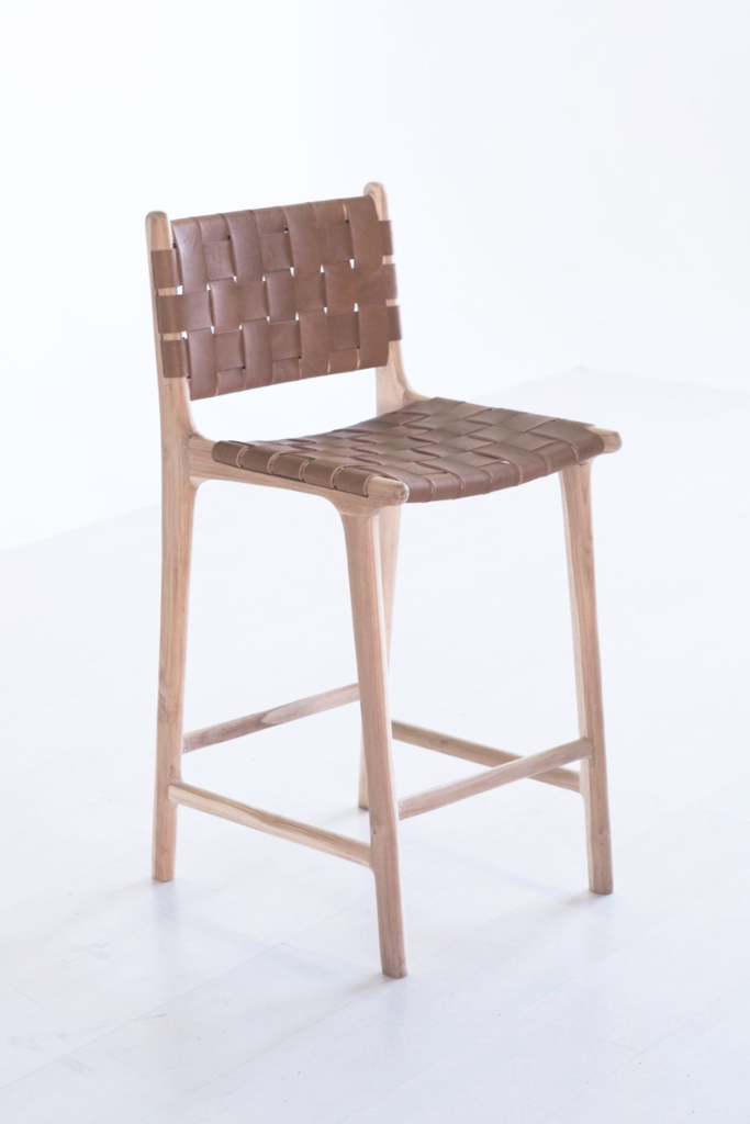 Woven Leather Strap Counter Stool Saddle