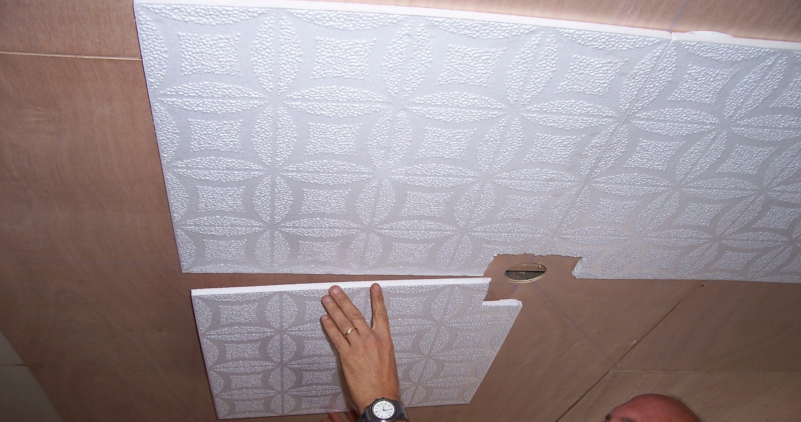 Polystyrene styrofoam ceiling tiles over popcorn or smooth polystyrene styrofoam ceiling tiles over popcorn or smooth surfaces why didnt i think of this to do pinterest styrofoam ceiling tiles dailygadgetfo Gallery