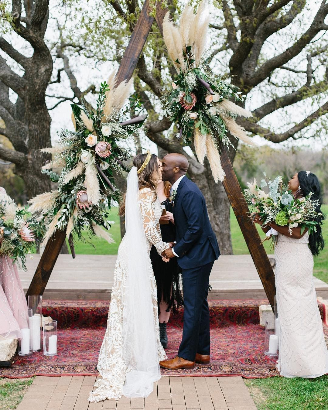 Nuptials At A Ranch In Texas With A Trigon Arch And Pampas Grass Wedding Grass Wedding Backdrop Decorations