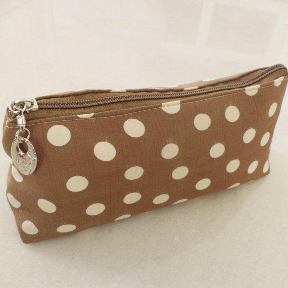 Brown Polka dot pouch case zippered  travel / by TheIndianBazaar, $4.99