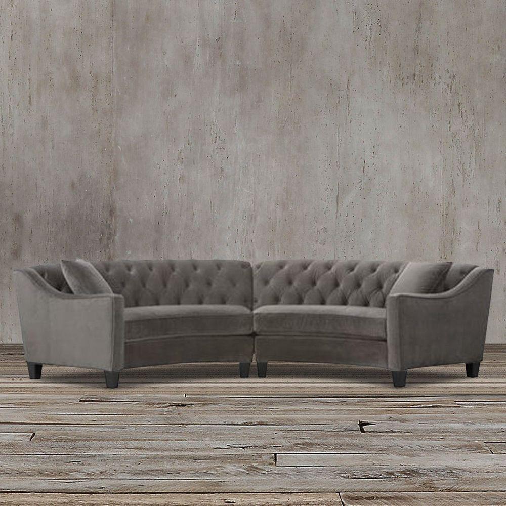 Swell Gray Velvet Button Tufted Curved Sectional Sofa Modern Creativecarmelina Interior Chair Design Creativecarmelinacom