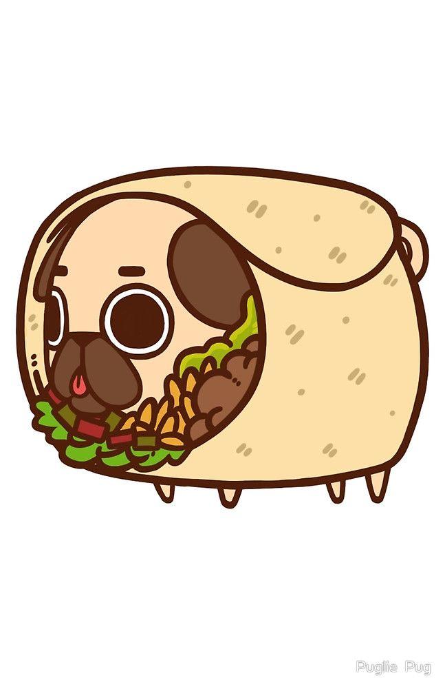 Puglie Burrito By Puglie Pug Illustration Pugs Drawings Cute