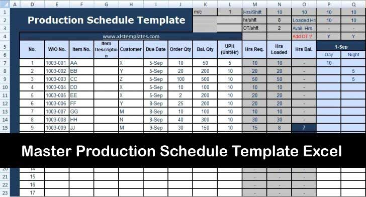 production schedule spreadsheet template