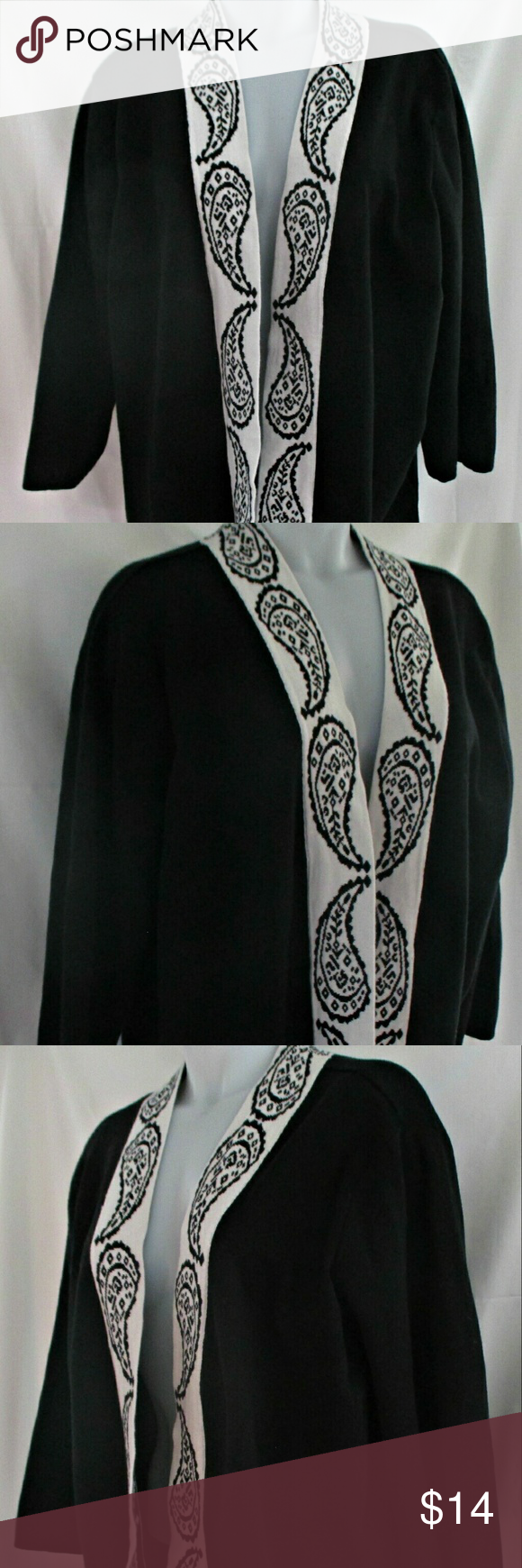 """Black White Paisley Open Front  Sweater 2X Here's a nice looking black, with a white paisley pattern trim, open front sweater that is in good condition with only gentle wear. 3/4 sleeves. Stated size is 2X. Measurements are 19"""" shoulders, 18"""" sleeve, 28"""" breast, 27"""" waterfall, 27"""" length. All measurements are taken with the garment laying flat. Designer's Original Sweaters Cardigans"""