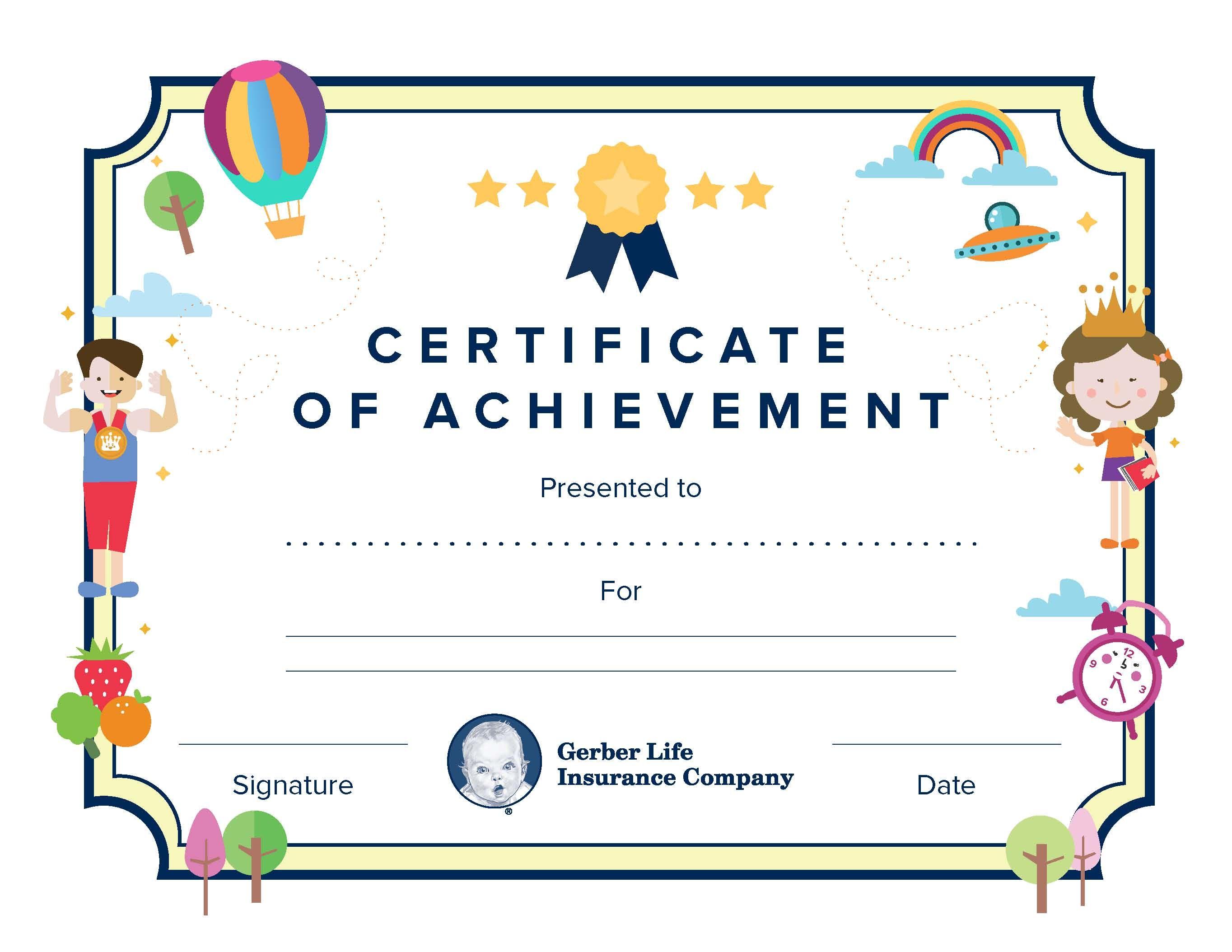 Celebrating Your Child S Accomplishments Gerber Life Insurance Blog School Certificates Certificate Templates Certificate Of Achievement Template