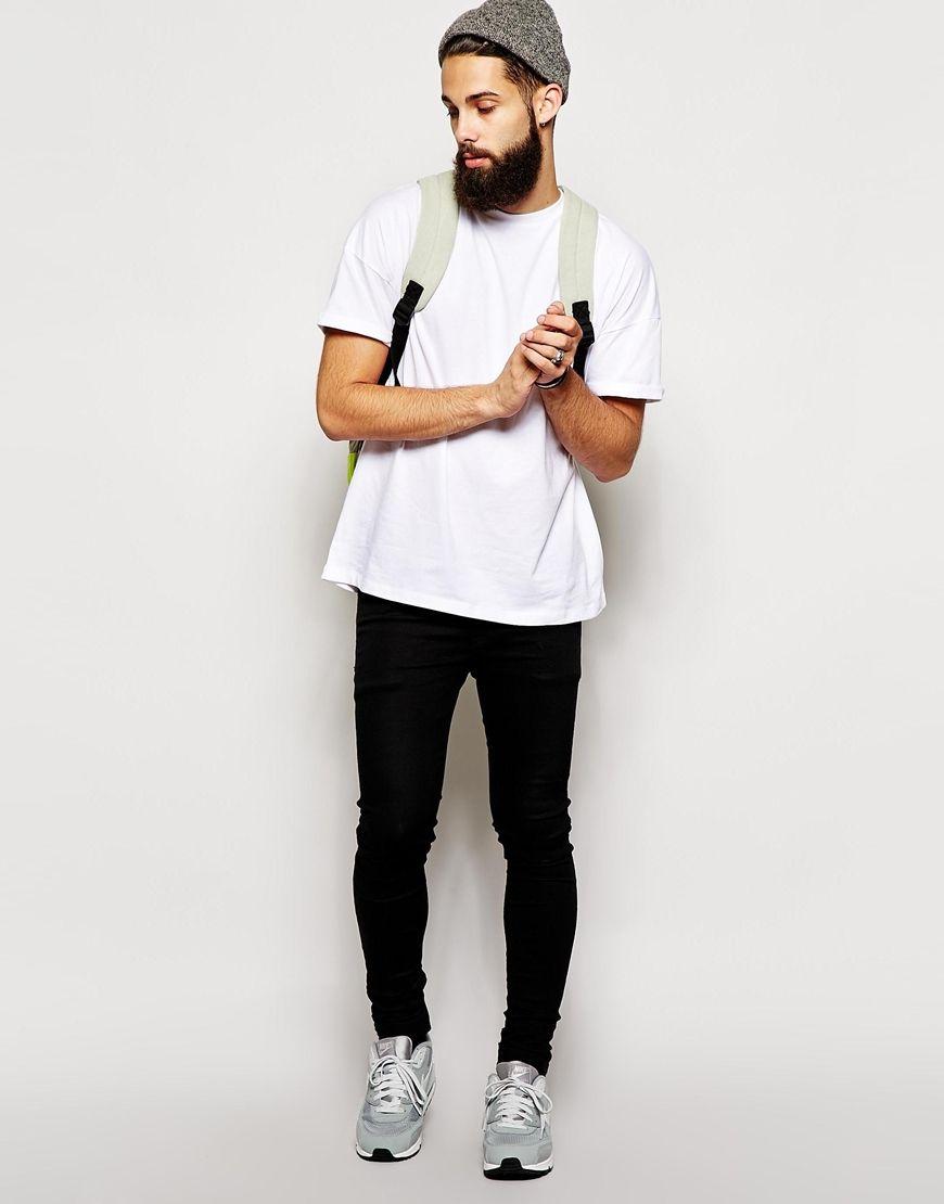 White Shirt Black Jeans Sneakers Beanie Men Beard Fashion Tumblr