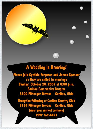 cheap halloween wedding invitations