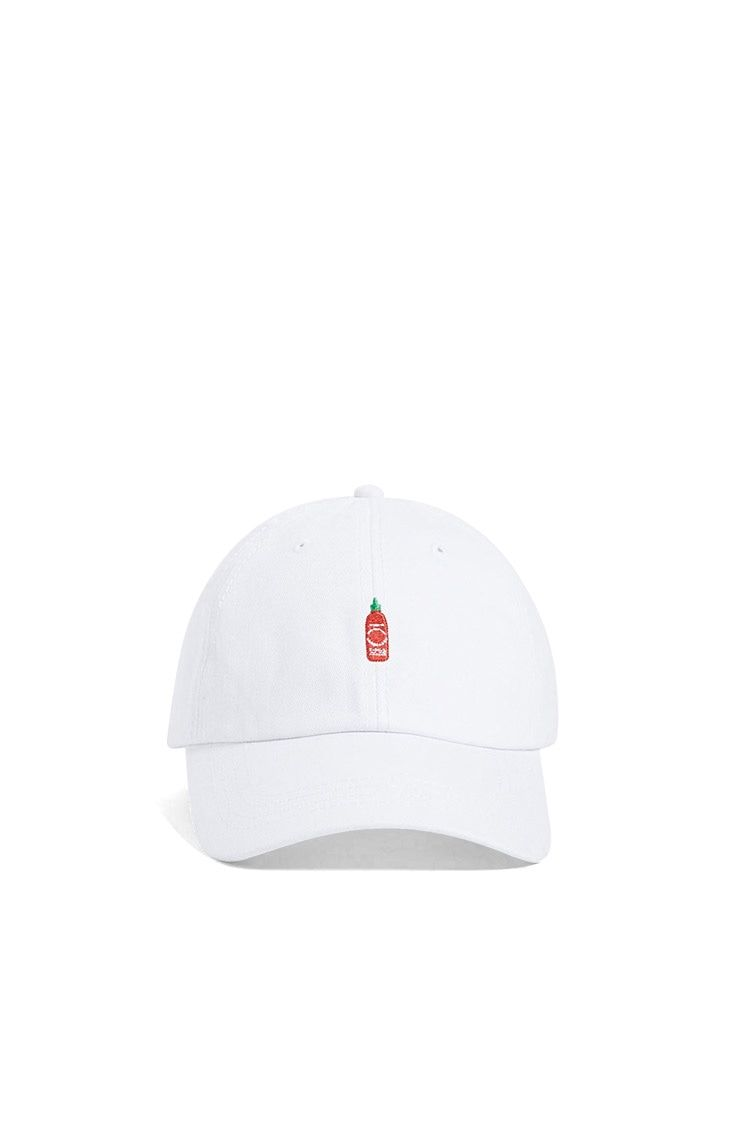 A cotton dad cap by CRSHR™ featuring an embroidered sriracha hot sauce  graphic on the front 5b9f23f3db7