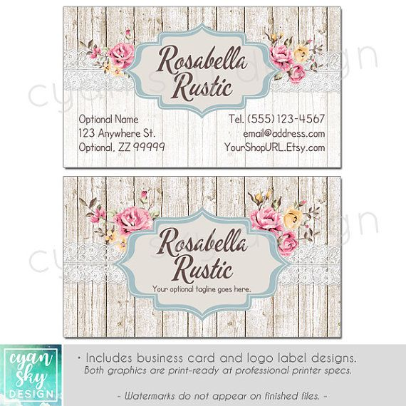 Shabby Chic Branding Banners Avatar Icons Business Card Logo Label More 12 Premade Graphics Files Rosabella Rustic Marketing Ideas