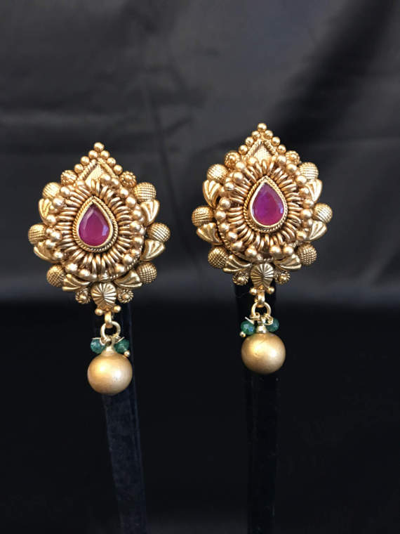 Indian Earrings Stud Jewelry Antique Gold Temple Bollywood