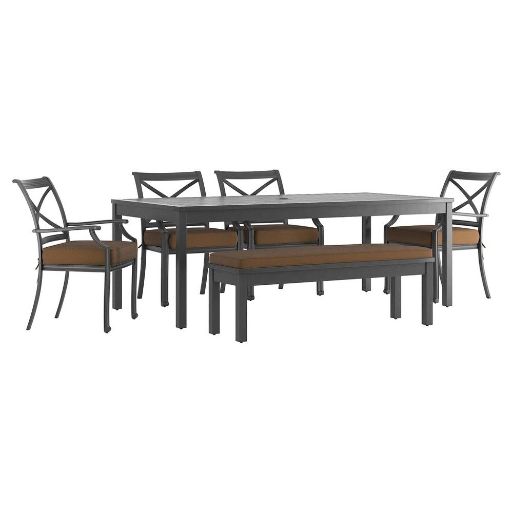 Bedford Hill 6 Pc Aluminum Outdoor Rectangle Dining Table Set With Cushions  - Brown - Inspire