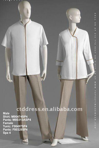 New style wool spa uniform spa dress by ctd 76 95 spa for Spa uniform alibaba
