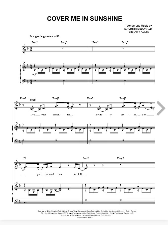 Pink Willow Sage Hart Cover Me In Sunshine Sheet Music In F Major Download Print In 2021 Sheet Music Willow Sage Hart Music