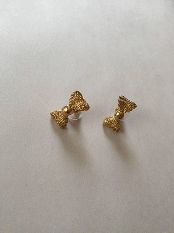 Golden Mesh Bow Studs Small Stud Earrings Ss19