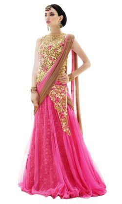 6af72118ef Sitaram Womens Pink Embroidered Floral printed Designer Long Angarkali Gown  Style Lehnga Choli With Dupatta