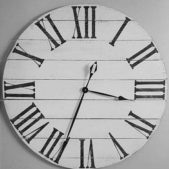 Antique White Pallet Clock Large Roman Numeral Clock