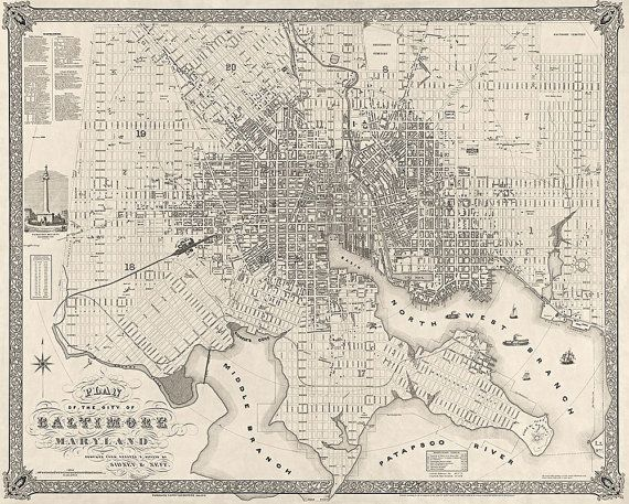 Antique Map Of Baltimore Maryland 1851 By Bluemonocleprints 41 00 Baltimore Map Art Baltimore Map Map Art Print