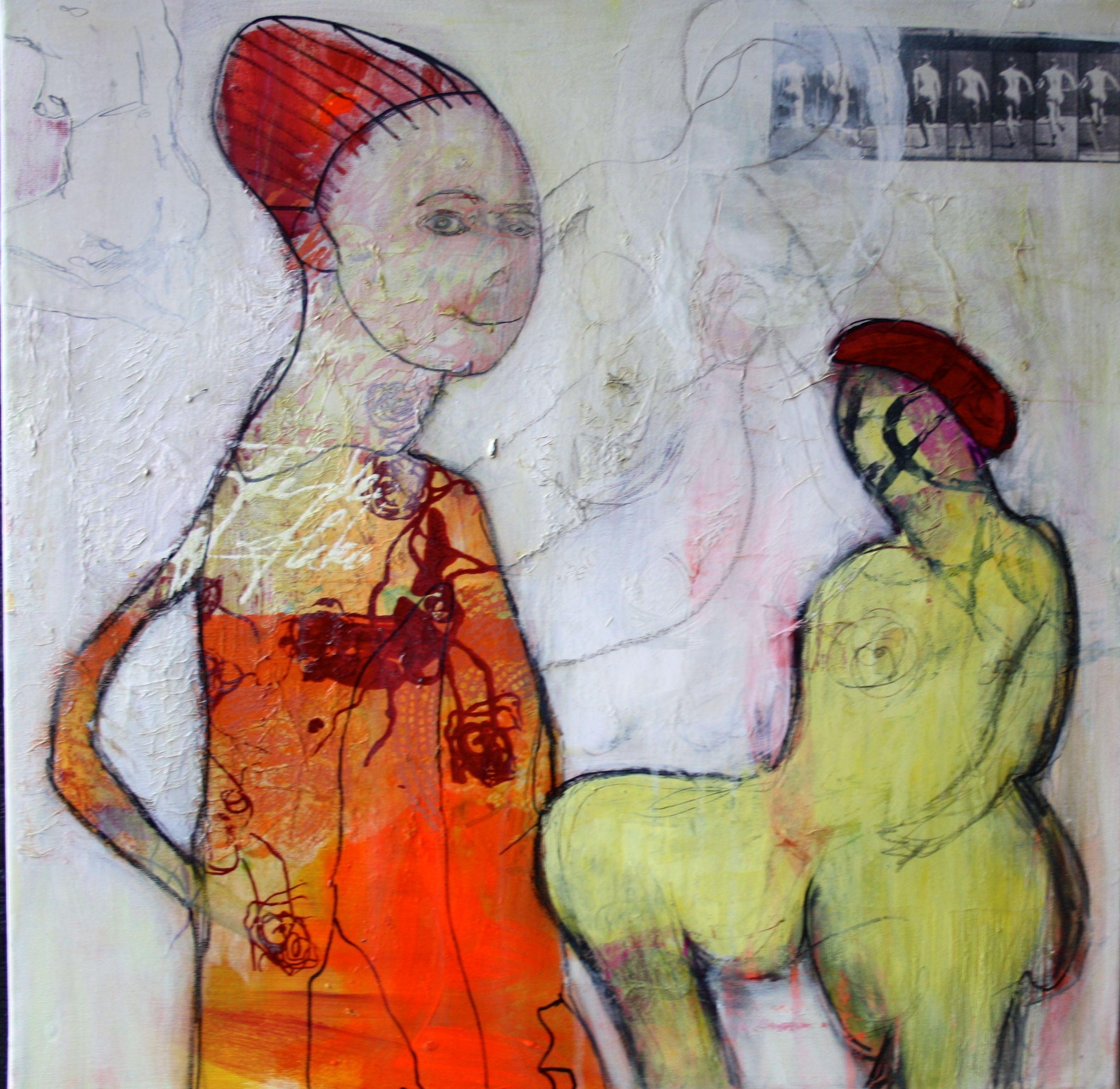 Mennesker Akryl Oilpastel Collage Papir Serigrafitryk Kul Blyant Tegning Maleri Galleri Www Rieskunstgalleri Dk Artist Art Painting