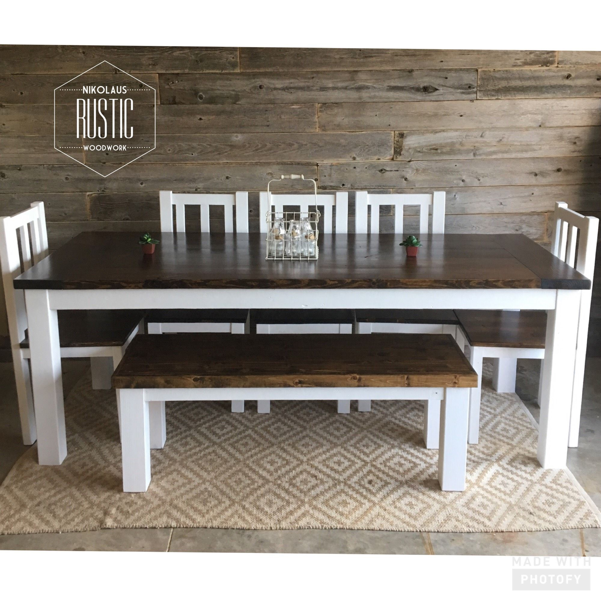 Admirable Nikolausrusticwoodwork Farmhouse Dining Room Table Set 7 Ft Pabps2019 Chair Design Images Pabps2019Com