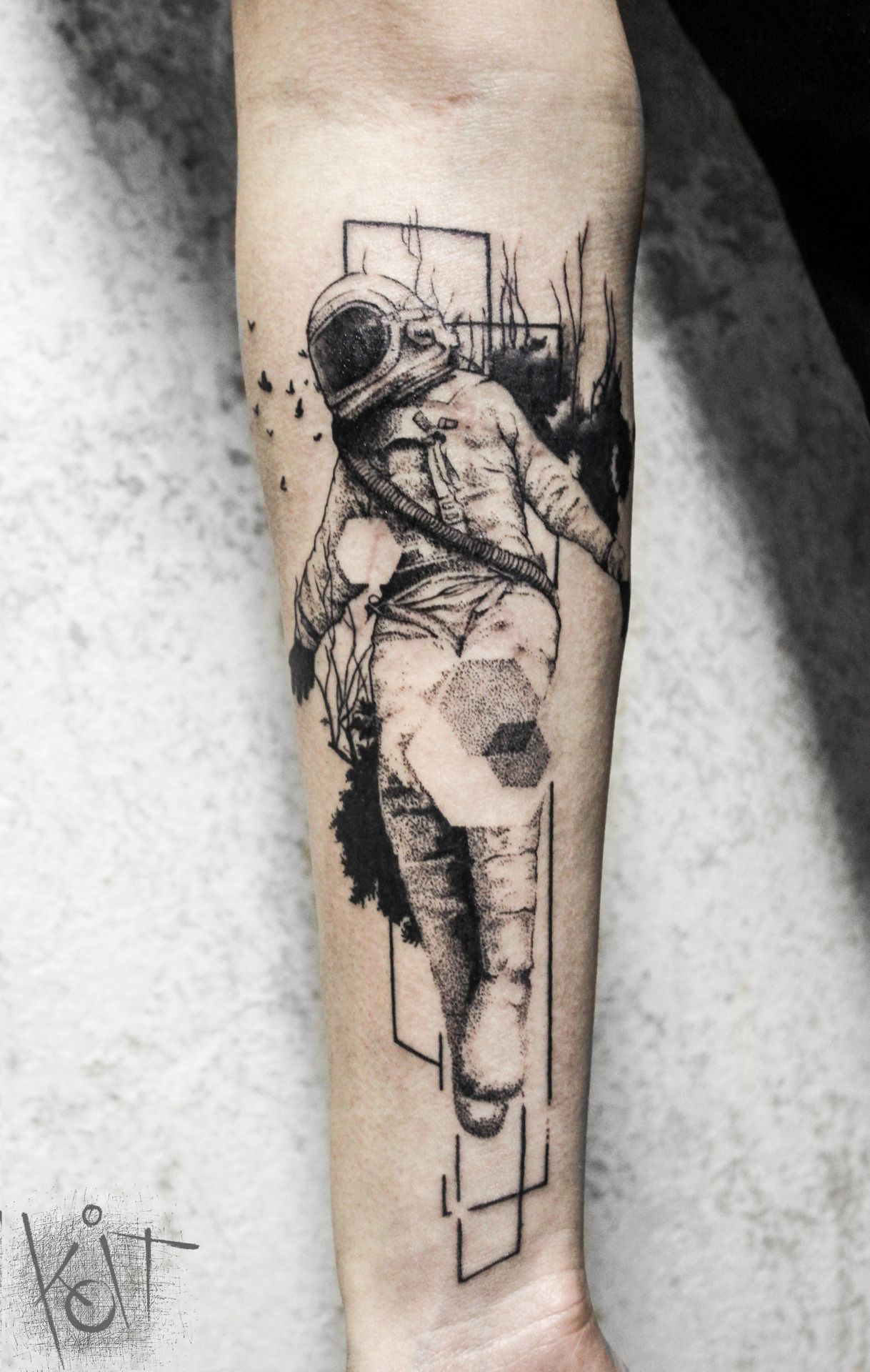 koit tattoo berlin germany black graphic style astronaut tattoo design on forearm inked. Black Bedroom Furniture Sets. Home Design Ideas