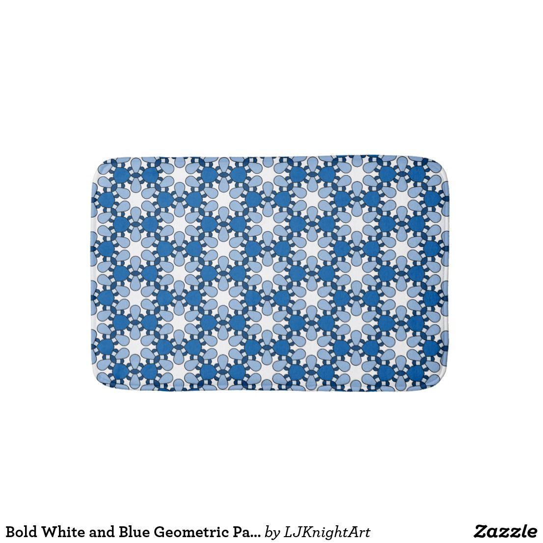 Bold White And Blue Geometric Pattern Bath Mat Zazzle Com