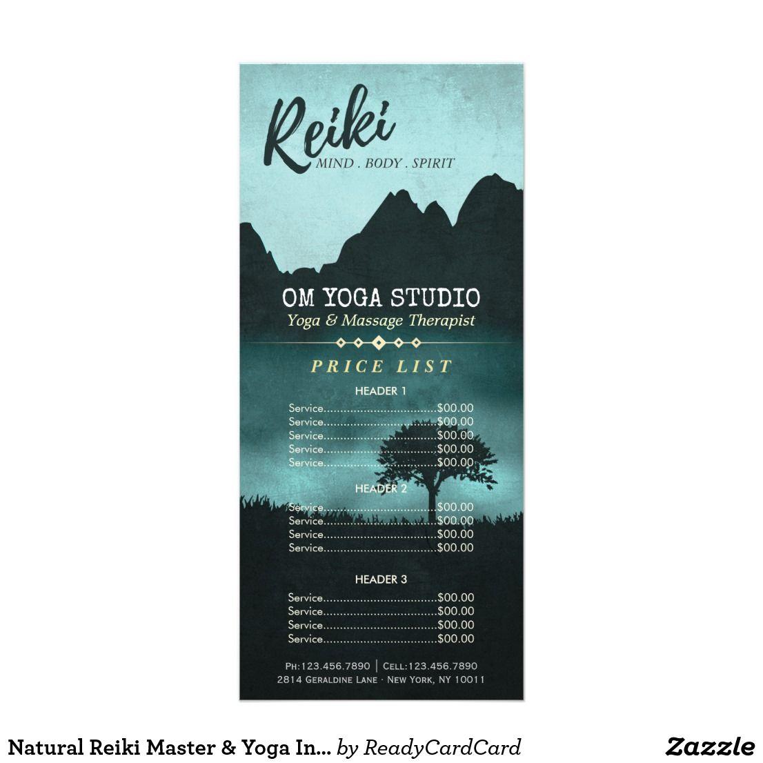 Natural Reiki Master & Yoga Instructor Price List Rack Card | Reiki ...