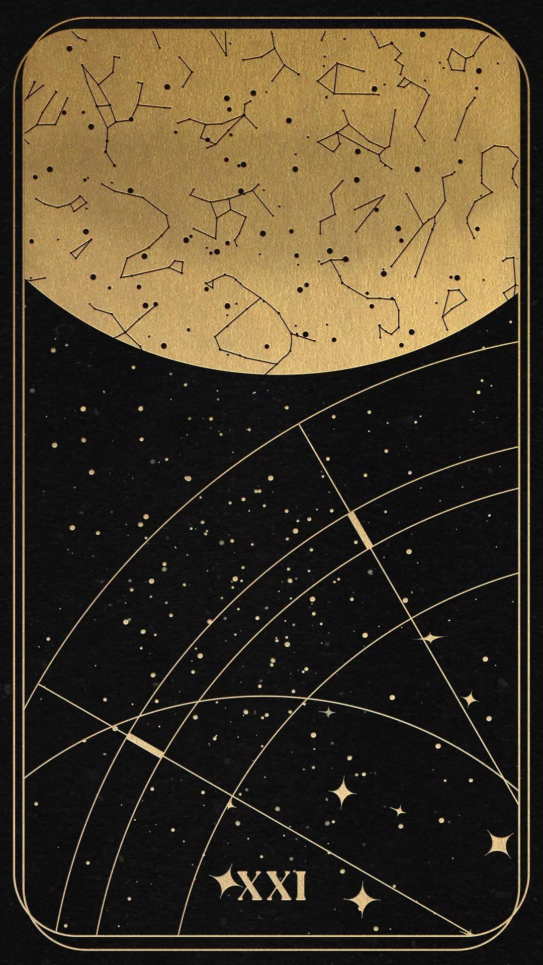 World Card Print, Celestial Decor, Sun and Moon Print