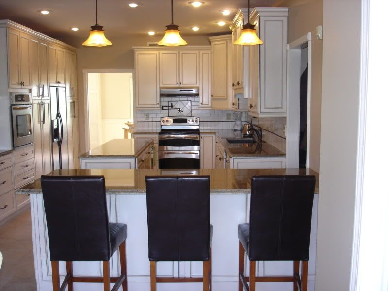 Exceptional Kitchen Peninsula, Small Layout, White Cabinets, Lighting