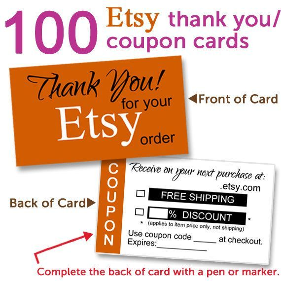 images of thank you discount cards | Etsy Shop Coupon Cards / Thank ...
