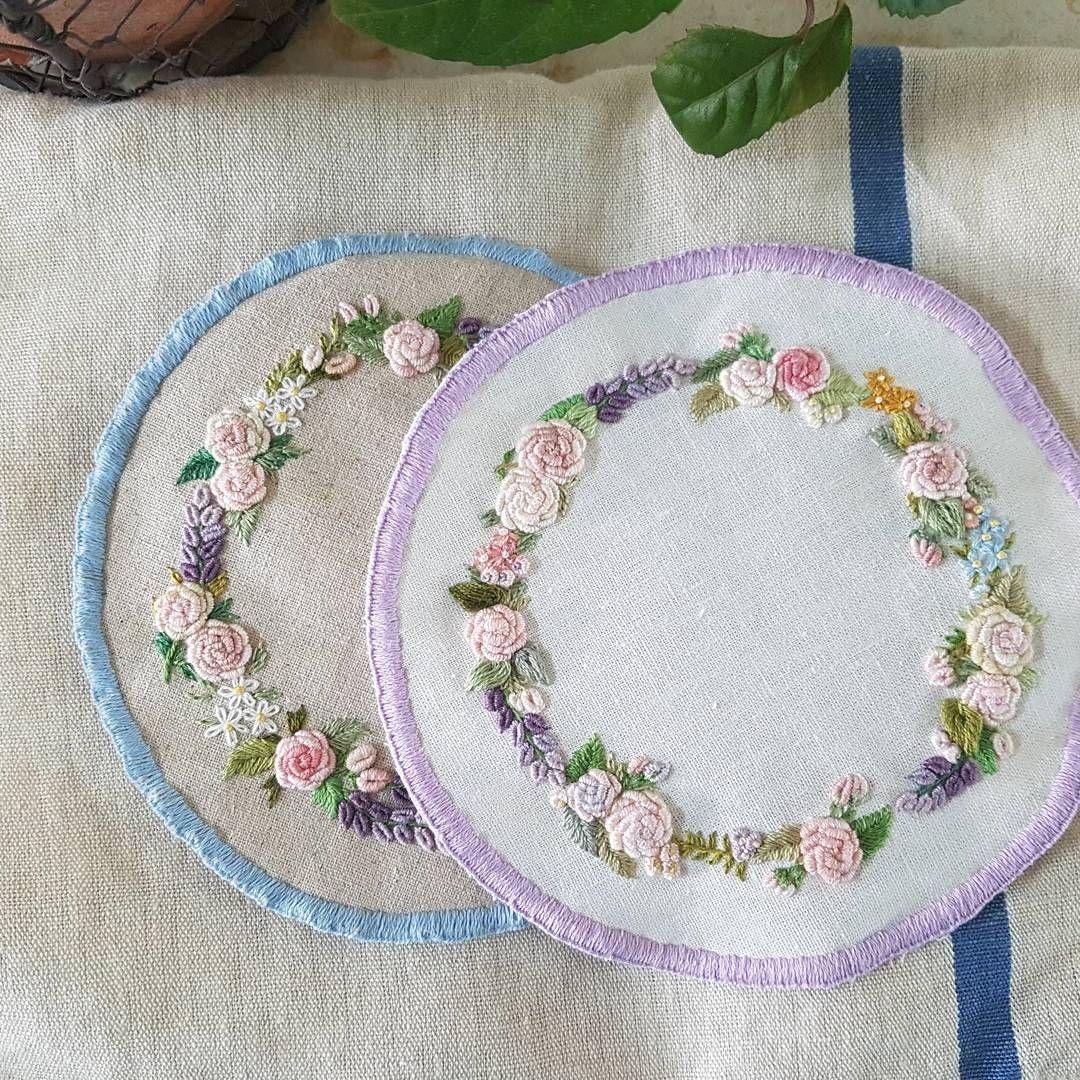 "266 Likes, 5 Comments - 프랑스자수.한땀 한땀 설렘과 평온함. (@embroidery_flower) on Instagram: ""프랑스자수 도일리....이제 두개#프랑스자수 #꽃자수 #프랑스자수소품 #자수소품 #프랑스자수도일리#자수도일리#티매트#자수티매트#자수티코스터 #embroidery…"""