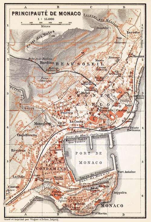 Monaco City Map 1913 Carte Et Plan Art Carte Cartographie