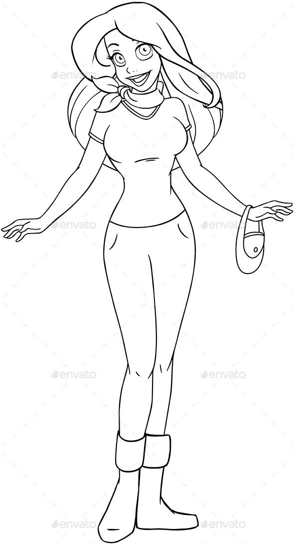 Teenage Girl in T-Shirt and Pants Coloring Page | Pinterest | Font ...