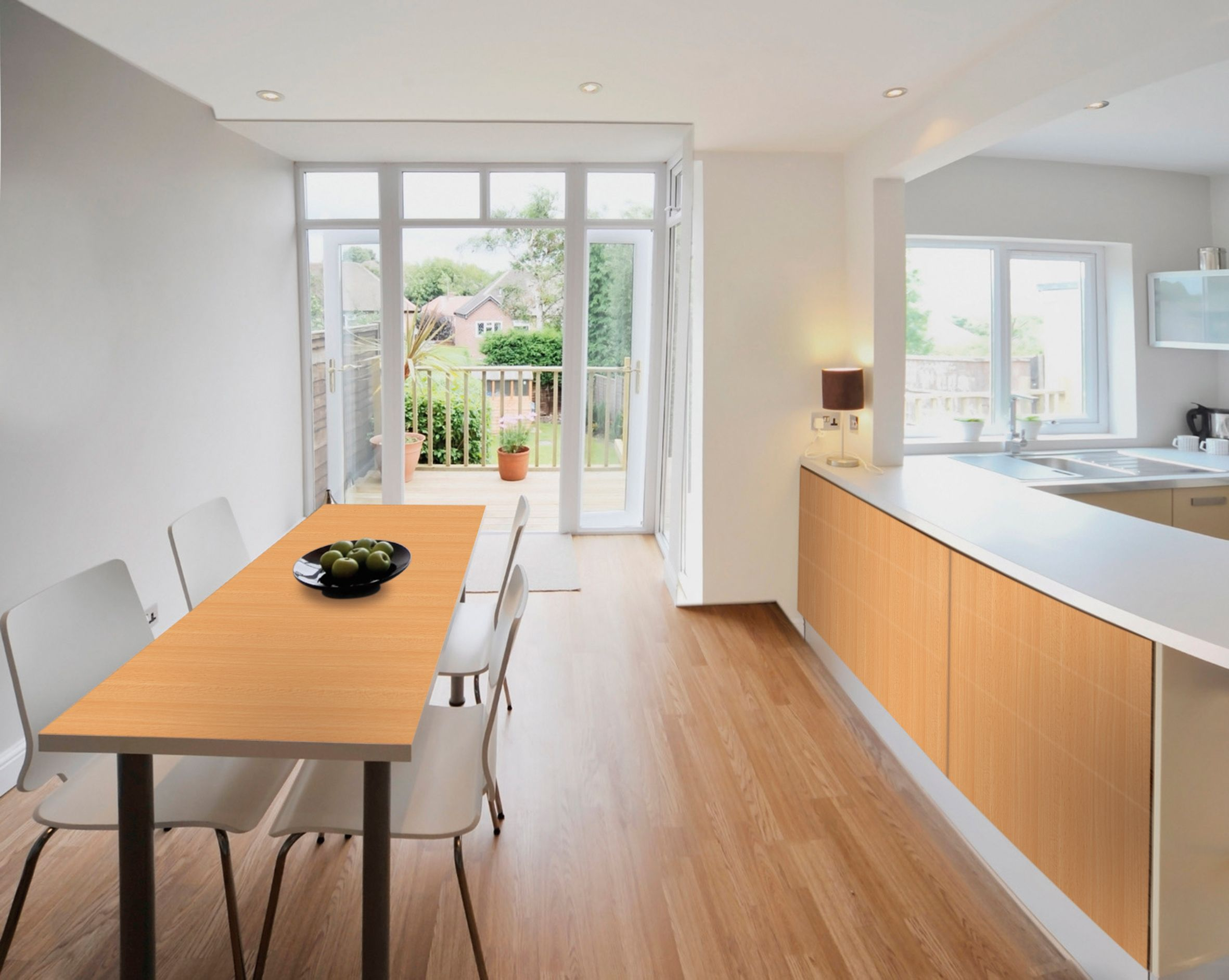 for a coordinated look cover kitchen doors and dining table with a warm woodgrain like. beautiful ideas. Home Design Ideas