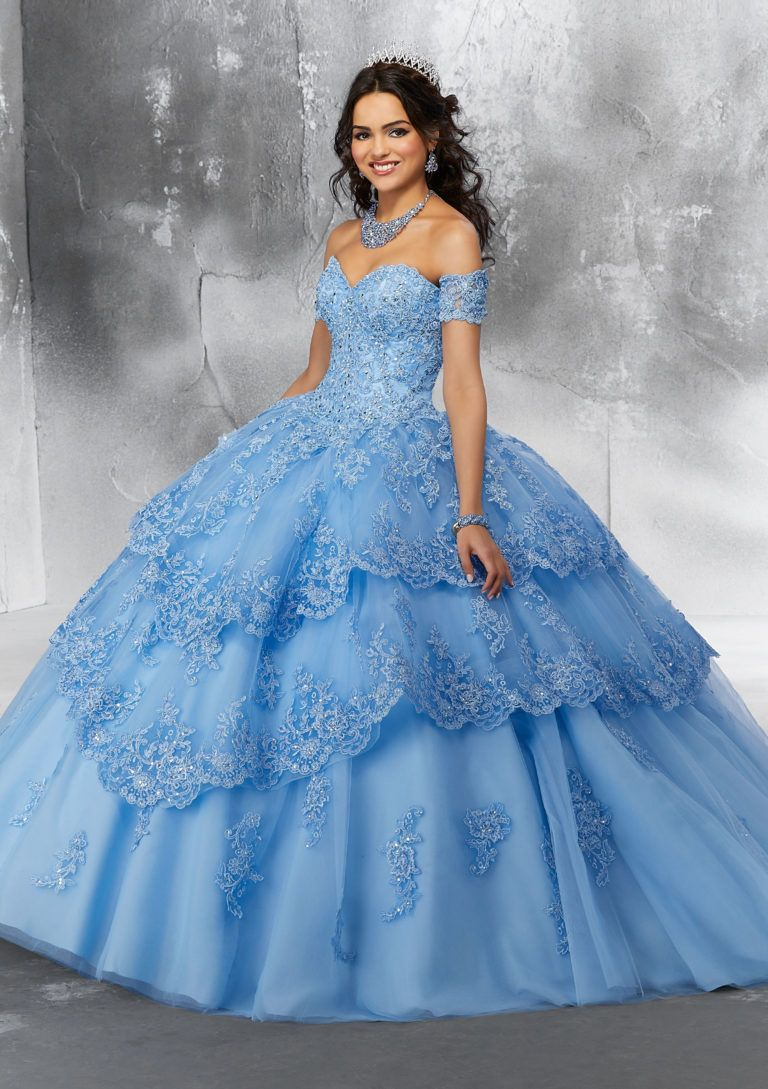 Beaded Lace Appliques Tiered Tulle Quinceanera Dress Morilee 89190 Pretty Quinceanera Dresses Quinceanera Dresses Quinceanera Dresses Blue [ 1089 x 768 Pixel ]