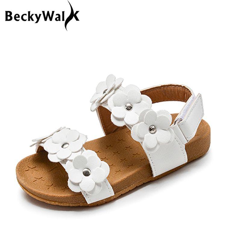 6ea7d429b6 comprar 2018 Nuevo Verano Sandalias de Los Niños para Niñas Flores Princesa  de La Muchacha de Cuero Suave Zapatos de Los Niños Sandalias de Playa  Zapatos ...