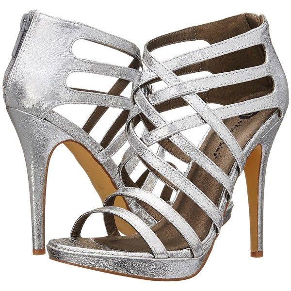 Michael Antonio Thorstein - Metallic (Silver) High Heels ($25) ❤ liked on