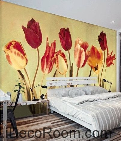 European-style retro blooming Hongyan yellow tulip flower painting ...